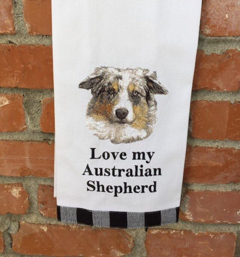 kitchen towel australian shepherd aussie dog decor dog | etsy
