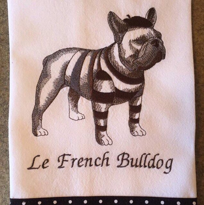 French Bulldog Kitchen Towel, Frenchie Tea Towel, Dog Lover Gift Idea,  French Bulldog With Bow, Dog Gift, Frenchie Gift Idea, Frenchie Mom