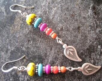 Colorful Dangle Earrings, Hippie Earrings, Bohemian Jewelry, Stack Earrings, Boho Earrings