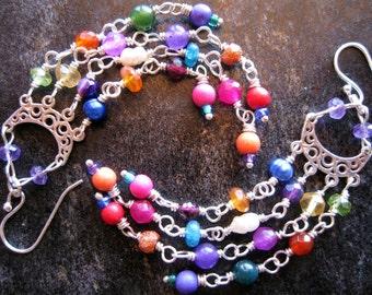 SALE Delicate Gemstone Chandelier Earrings, Boho Chandeliers, Gypsy Earrings, Colorful Earrings