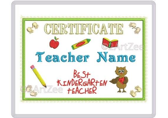 Best Kindergarten Teacher Certificate Applique Machine   Etsy
