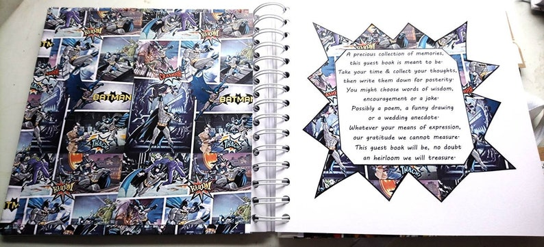 Personalised Batman Geek Inspired Guest Book Perfect For Themed Weddings Birthdays and Celebrations Unique and Fun for a Fan
