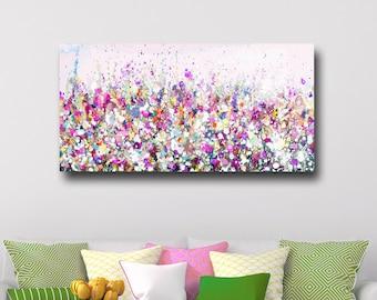 Large Panoramic Canvas Art, Floral Wall Art, Pink and Purple Meadow Print, Giclee Print, Print from Painting, Large Canvas Flower Art