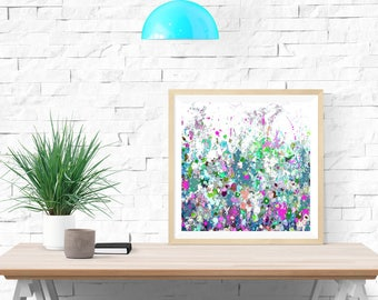 Blue and Pink Abstract Floral Print, Floral Meadow Giclee Print on Paper, Modern Floral Art Print, Flowers Print
