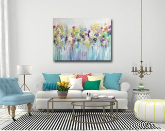 yellow blue flowers painting print floral canvas art yellow etsy