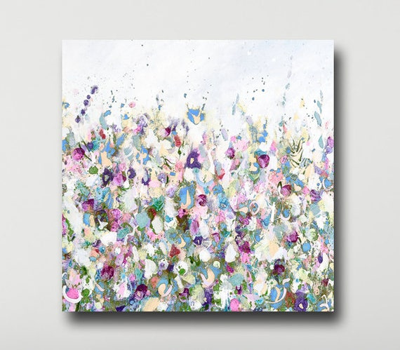 Wall Art pink Abstract Meadow Print white flowers Large Giclee Print from Painting Large Painting purple Abstract Floral Print green