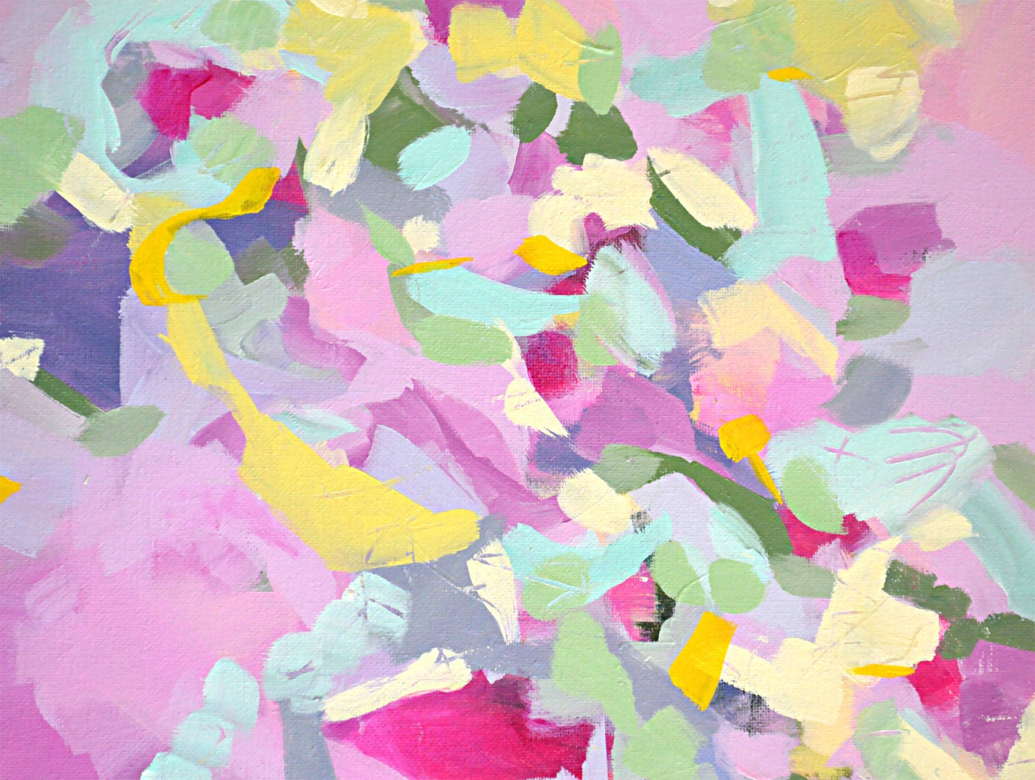 Pink Abstract Canvas Art: Pink Abstract Painting Print Giclee Print From Painting
