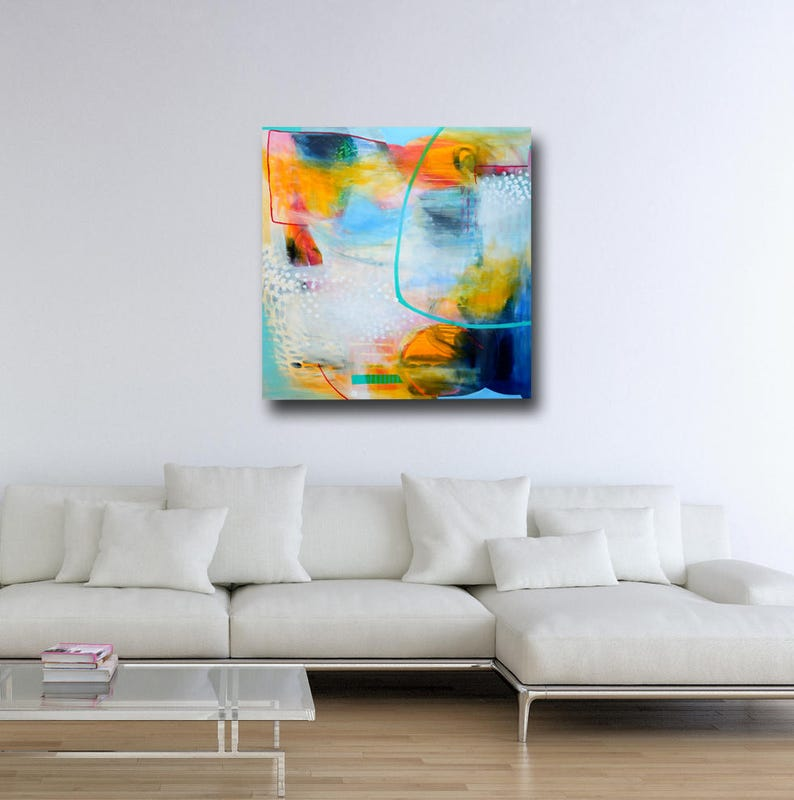 Canvas Art Expressive Abstract Art Modern Artwork Large Wall Art Canvas Wall Art Large Giclee Print Blue and Yellow Abstract Painting