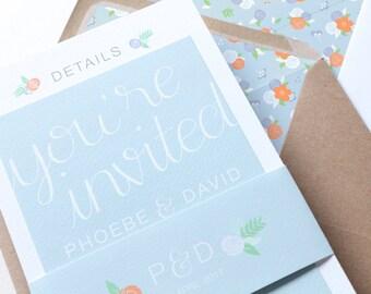 Blue & Orange Floral Wedding Invitation | Floral Hand Lettered Wedding Stationery | Bespoke Wedding Invites | Holly Collection
