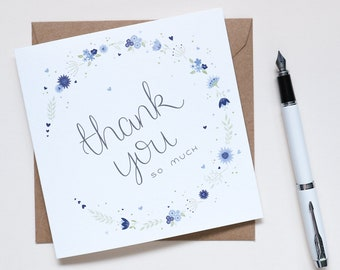 Beautifully Blue floral Thank You Card - Illustrated & Hand-lettered Thank You Card