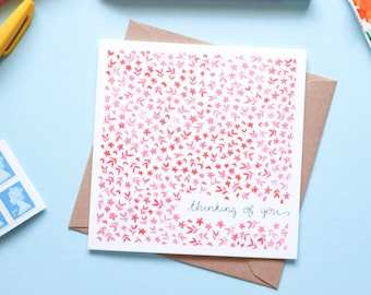 Thinking of You Red Floral Watercolour Note Card