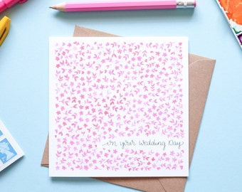 On your Wedding Day Pink Floral Watercolour Note Card