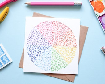 Rainbow Floral Watercolour Note Card