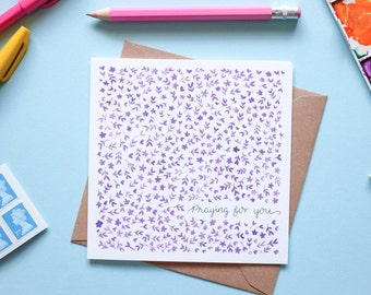 Praying for You Purple Floral Watercolour Note Card