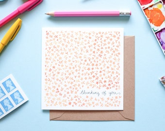 Thinking of You Orange Floral Watercolour Note Card