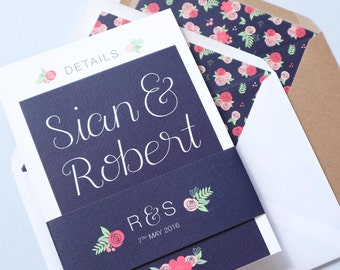 Navy & Floral Wedding Invitation | Floral Hand Lettered Wedding Stationery | Bespoke Wedding Invites | Rhiannon Collection