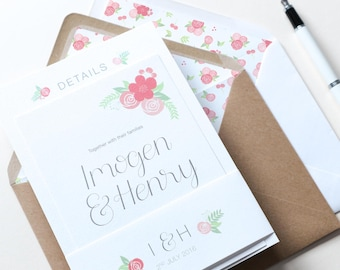 Pink & Floral Wedding Invitation | Floral Hand Lettered Wedding Stationery | Bespoke Wedding Invites | Kate Collection