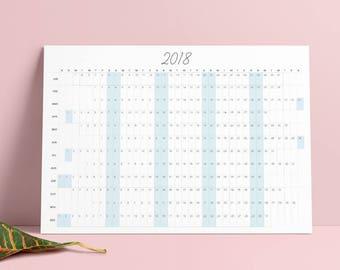 2018 Wall Calendar Printable | A4 | A3 | US Letter