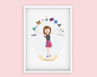 Custom Illustrated Portrait - Single Portrait - My Favourite Things
