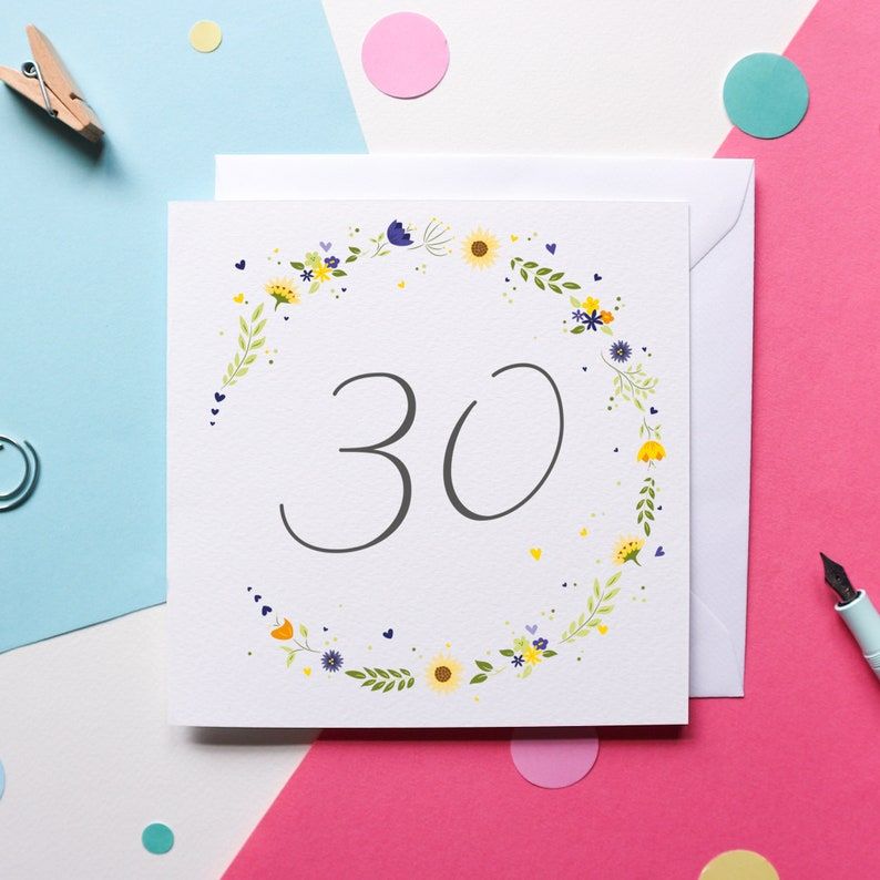 Beautiful Sunflower floral 30th Birthday Card image 0