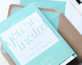 Minimal Mint Green Wedding Invitation | Minimal Wedding Stationery | Bespoke Wedding Invites Wedding Invites | Erin Collection