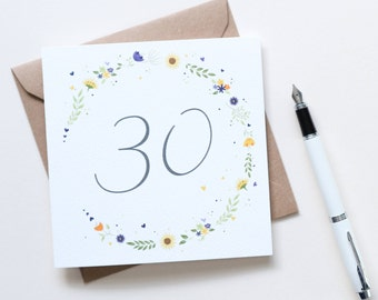 Beautiful Sunflower floral 30th Birthday Card - Illustrated & Hand-lettered Birthday Card