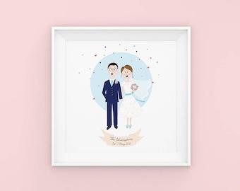 Custom Illustrated Portrait - Wedding Portrait - Couple Portrait