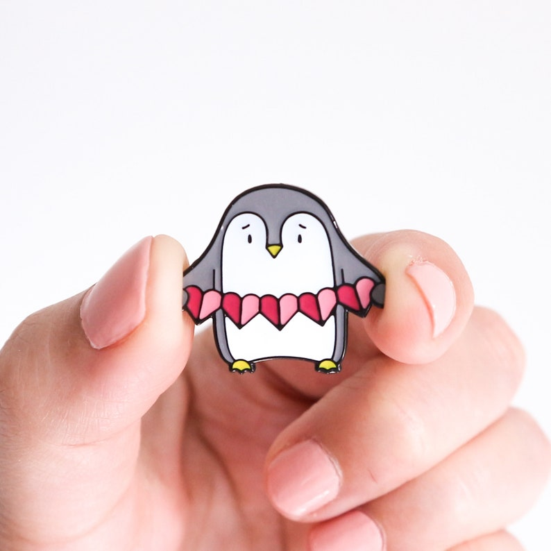 Pink Penguin Enamel Pin with Heart Garland image 0