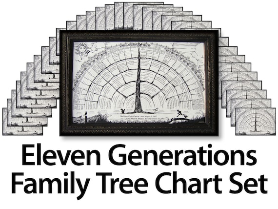 33 blank family tree charts for 6 or up to 7 8 9 10 11 etsy