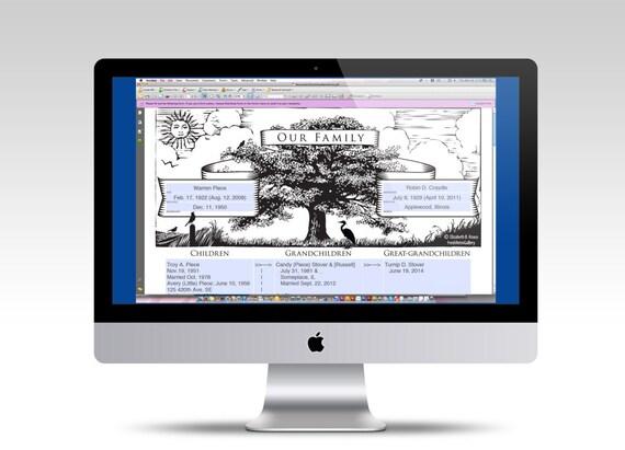 family tree printable descendant chart digital editable pdf etsy