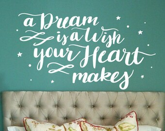 Cinderella Wall Decal / a dream is a wish your heart makes, cinderella quotes, princess wall decal, cinderella nursery,disney wall decal