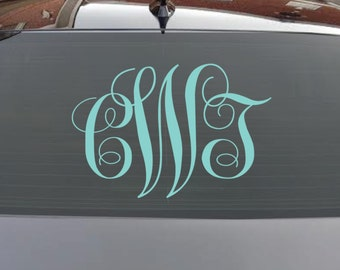 """MONOGRAM Decal / 3"""" 5"""" 7"""" 10"""" 14"""" / monogram decal for car, monogram decal for yeti, monogram decal for laptop, monogram decal for iphone"""
