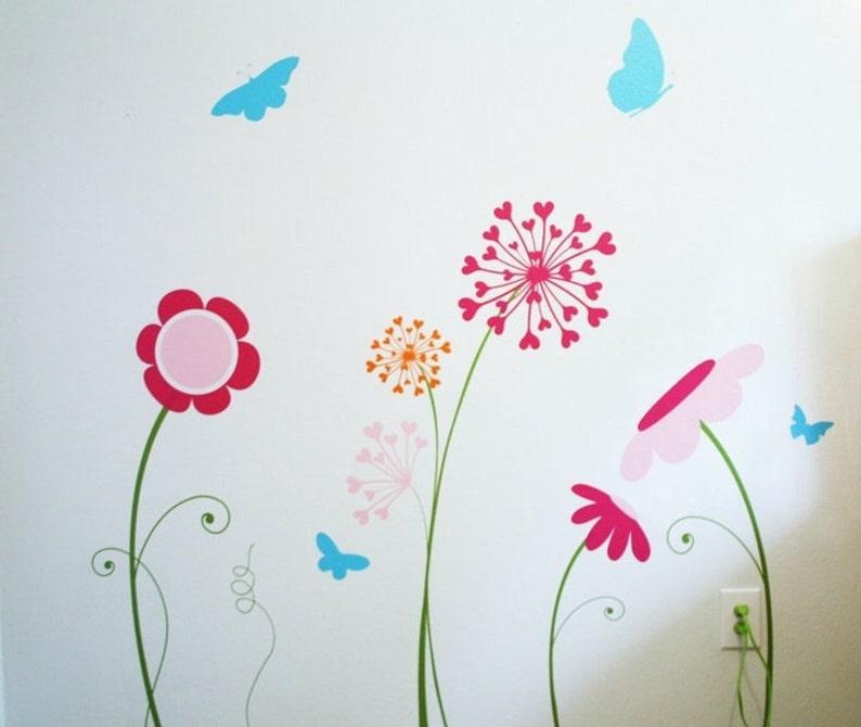 floral wall decal FLOWER GARDEN Wall Decal  flower wall decals dandelion wall decal butterfly wall decal children wall mural,baby decal