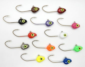 100ct 1//32oz White jig head with #6 red Eagle Claw Lil/' Nasty hook