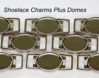 10 Blank Oval 12x16mm Paracord Shoelace Charms Great for Shoelaces and Paracord Braclets with Epoxy Dome Stickers