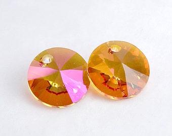 Astral Pink 12mm Swarovski Rivoli Pendant Drop Faceted Cut Crystal, Custom Coated Pink Orange Swarovski Crystal 6428 Round Rivoli Bead Drop