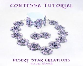 Contessa Necklace Bracelet Earring Set Tutorial, Two Hole Beadweaving, PaisleyDuo, DiamonDuo, GemDuo, HoneyComb, Modified RAW PDF Pattern