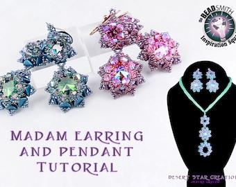Madam Earring and Pendant Set Tutorial, Super Kheops Par Puca Bead, Rivoli Bezel Beadweaving Pattern, Two Hole Bead Easy Component Tutorial