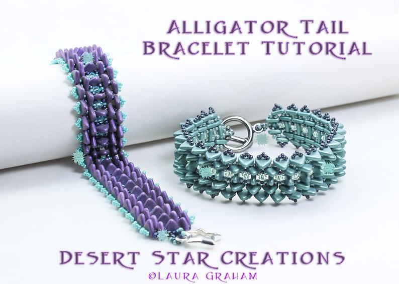 Two Hole Triangle Bracelet Tutorial Alligator Tail Beading image 0