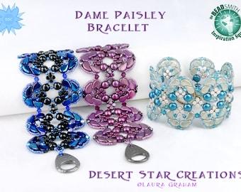 Dame Paisley Cuff Bracelet Tutorial, PaisleyDuo Bead Pattern, Minos Par Puca Beadweaving Pattern, Candy Bead, Two Hole Bead RAW Instructions