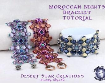 Moroccan Nights Bracelet Tutorial, Beadweaving Pattern, Two Hole Bead Modified Peyote RAW PDF Instructions, Ginko Bead, Kite Bead, Crystal
