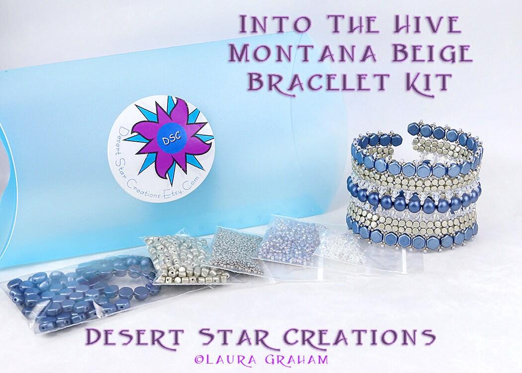 Dans la ruche ruche ruche manchette Bracelet perle Kit Montana beige, nid d'abeille, Minos normale Puca, Cab tchèque 6mm, le Kit Bracelet tissage de perles, perles Kit e26120