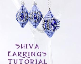 Shiva Earring Pendant Ornament Tutorial, Circular Peyote Stitch Pattern, Rivoli Crystal Bezel 3D Beaded Bead Tutorial, Laura Graham Design