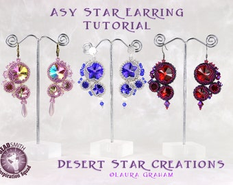 Asy Star Earring Tutorial, Circular Peyote Stitch Pattern, Swarovski Crystal Rivoli Bezel Asymmetrical Earring Tutorial, Laura Graham Design
