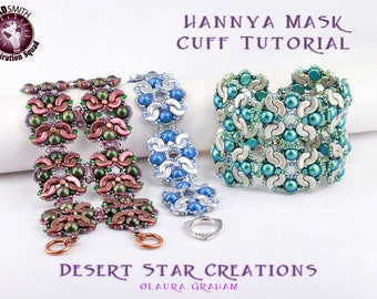 Hannya Mask Cuff Bracelet Tutorial, Cz Mated Cab, Arcos Pattern, Minos Bead Beadweaving Thick Cuff, Two Hole Bead Instructions, Laura Graham