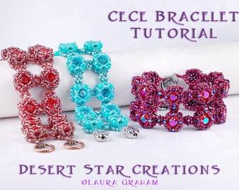 CeCe Cuff Bracelet Tutorial, Beadweaving Pattern, Two Hole Bead Modified RAW, GemDuo/DiamonDuo Bead, Swarovski Chaton, Beading Instructions