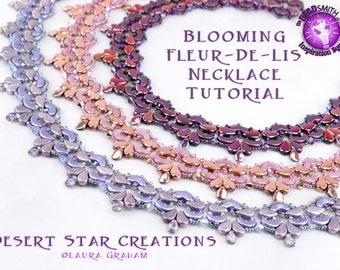 Blooming Fleur De Lis Collar Necklace Tutorial, Two Hole Czech Beadweaving Pattern, Arcos Par Puca, PaisleyDuo Bead, PDF Instructions