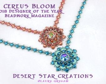 Cereus Bloom Necklace Earring Tutorial, Arcos, Super Kheops, GemDuo Bead, Crystal Beadweaving Pattern, Modified RAW, DOY Beadwork Mag