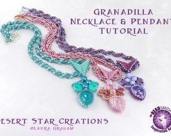 Granadilla Necklace Pendant Tutorial, Spiral Rope, Peyote Bezel, PaisleyDuo, Swarovski Crystal Pear, Multiple Stitch Beadweaving Pattern