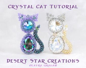 Crystal Cat Beaded Bead Pendant Tutorial, Circular Peyote Stitch Pattern, Pear Stone Rivoli Crystal Bezel Tutorial, Laura Graham Design